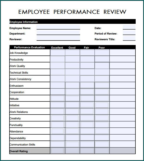 Employee Evaluation Template Sample