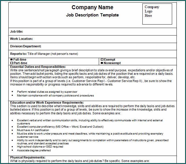 Employee Job Description Template