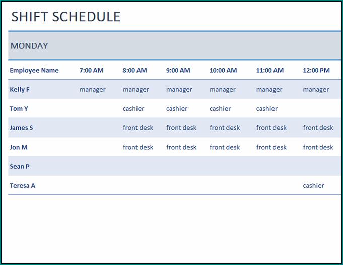 Employee Shift Schedule Template Sample