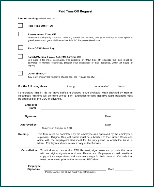 Employee Time Off Eequest Form Example