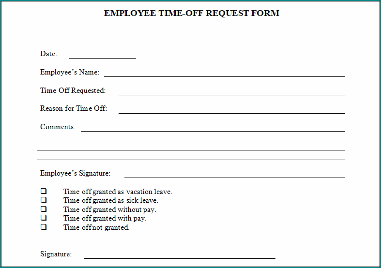Employee Time Off Eequest Form