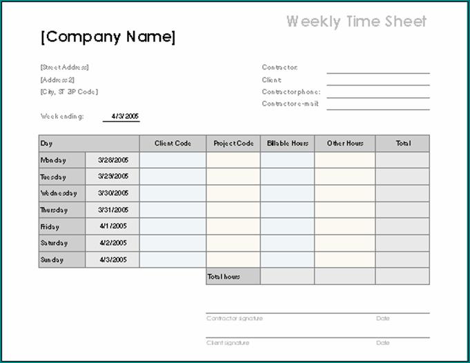 Employee Time Sheet Form Sample