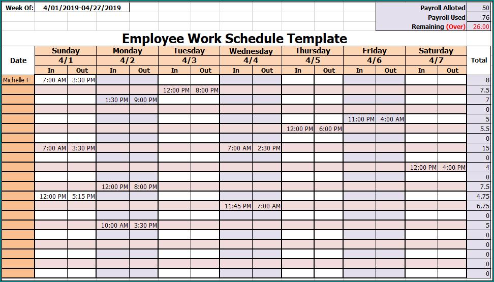 Employee Work Schedule Template Example