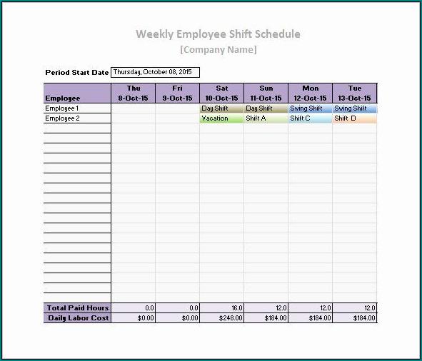 Employee Work Schedule Template Sample