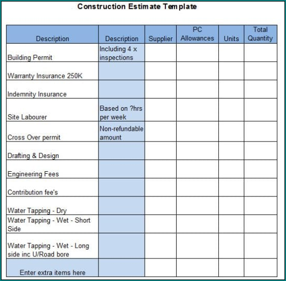 Estimate Sheet For Construction Example
