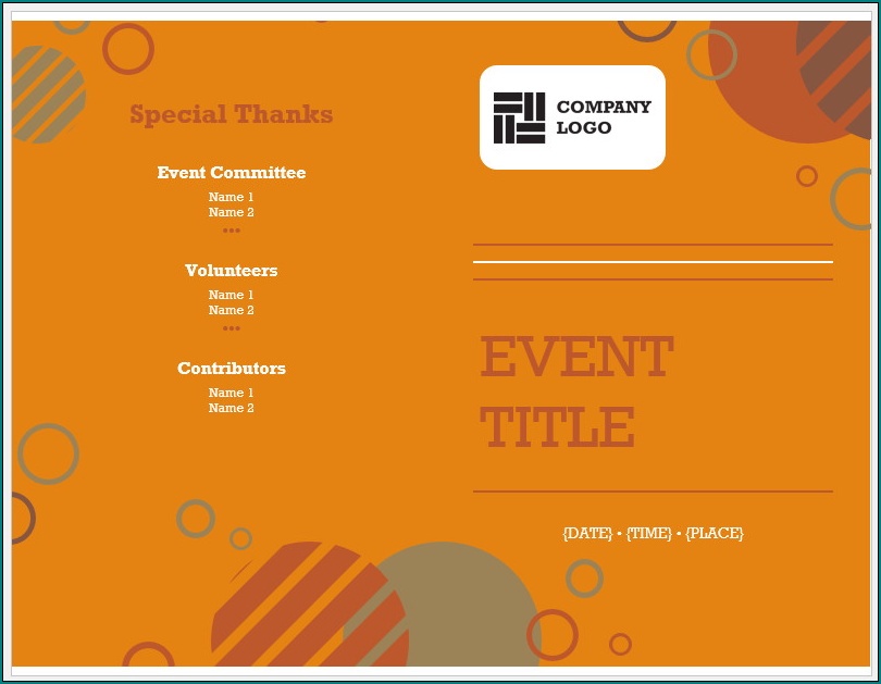 Event Program Template Example