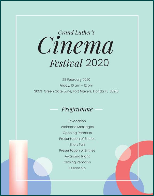 Event Program Template Sample