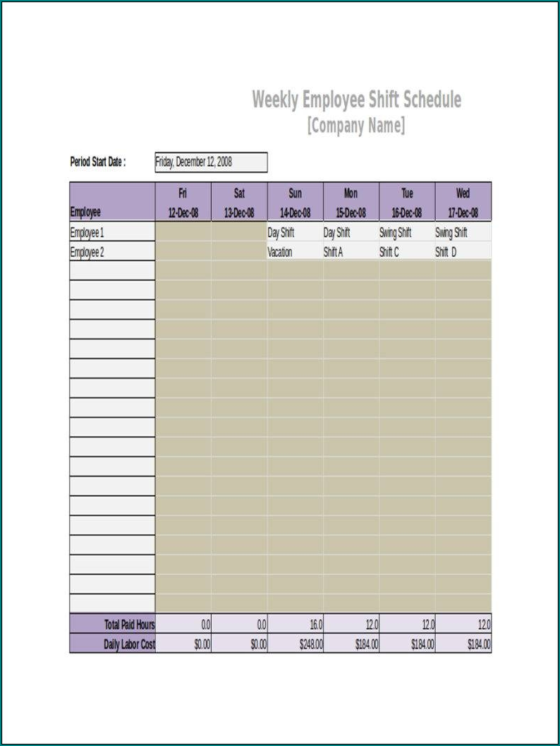 Example of 10 Hour Shift Schedule Template