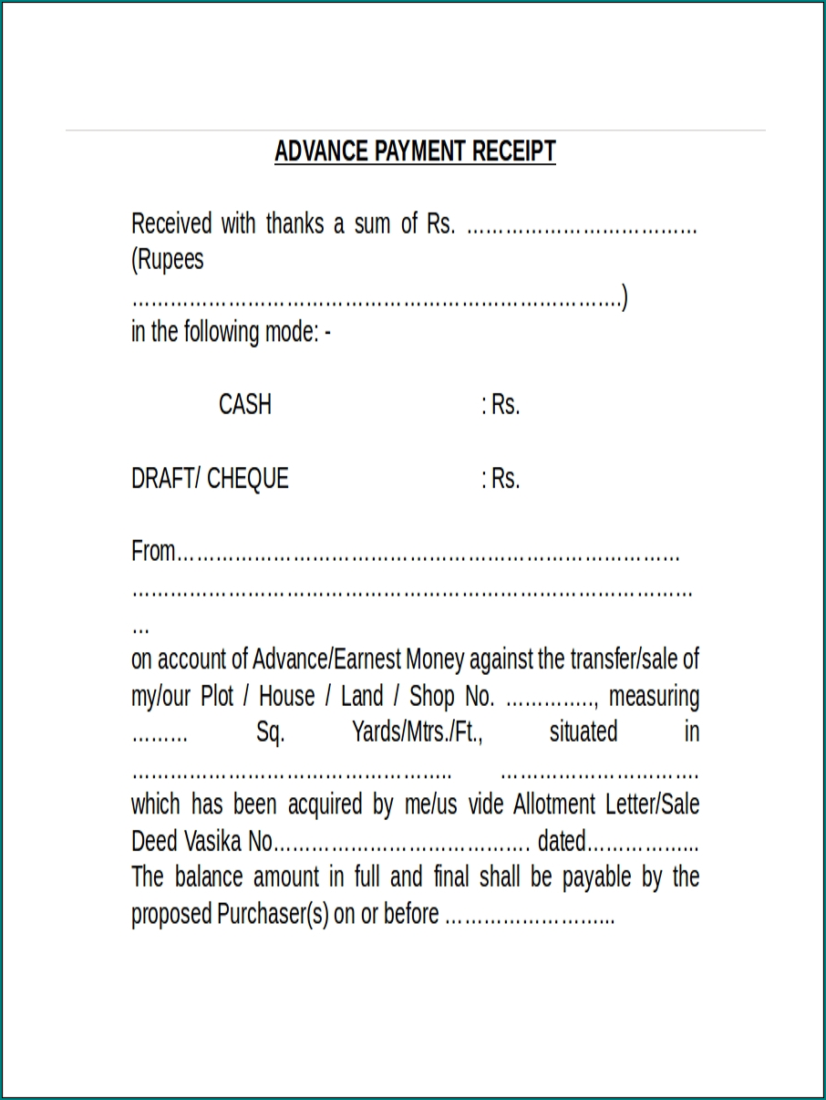 Example of Advance Payment Receipt Template