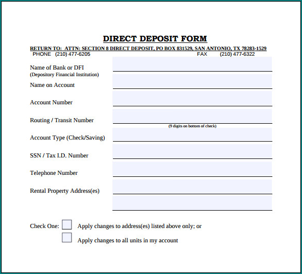 Example of Bank Direct Deposit Form