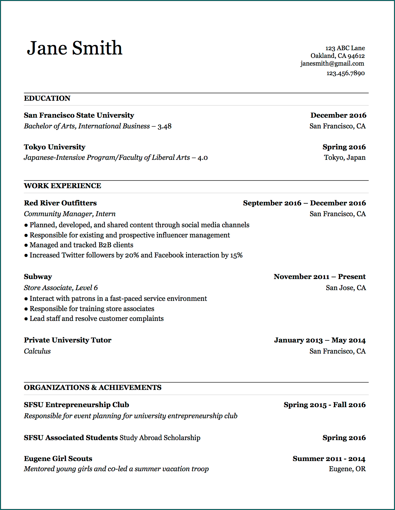 Example of Basic Resume Template