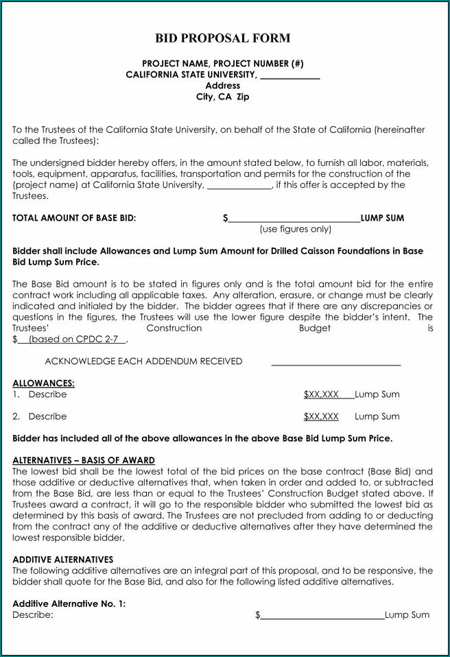 Example of Bid Proposal Template