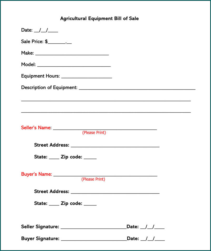 Example of Bill Of Sale Word Template