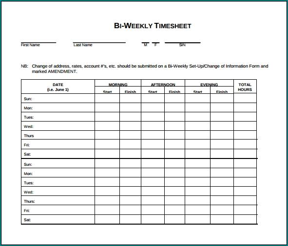 Example of Biweekly Timesheet Template