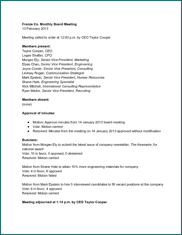 Example of Board Meeting Minutes Template