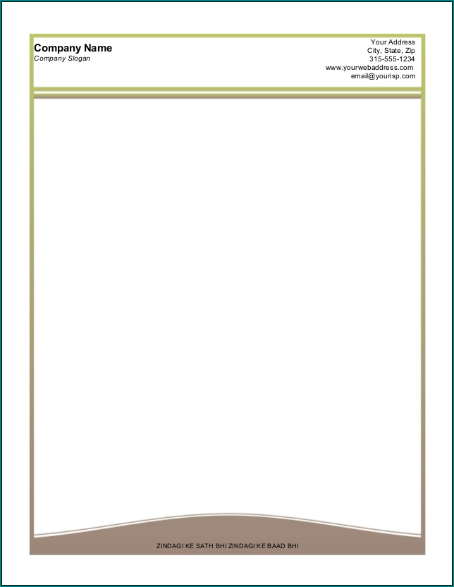Example of Business Letterhead Template Word