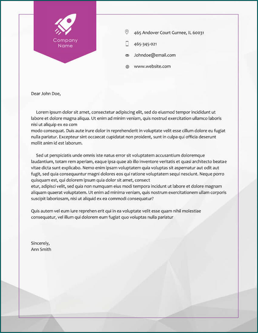 Example of Business Letterhead Template