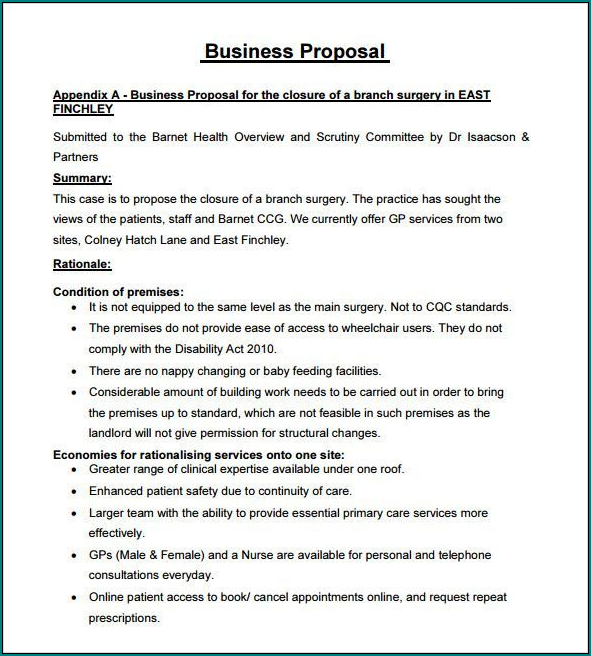 Example of Business Proposal