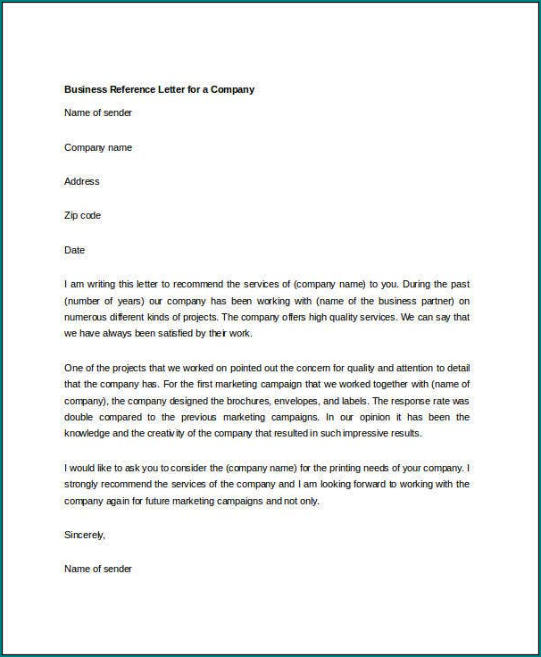 Example of Business Recommendation Letter Template