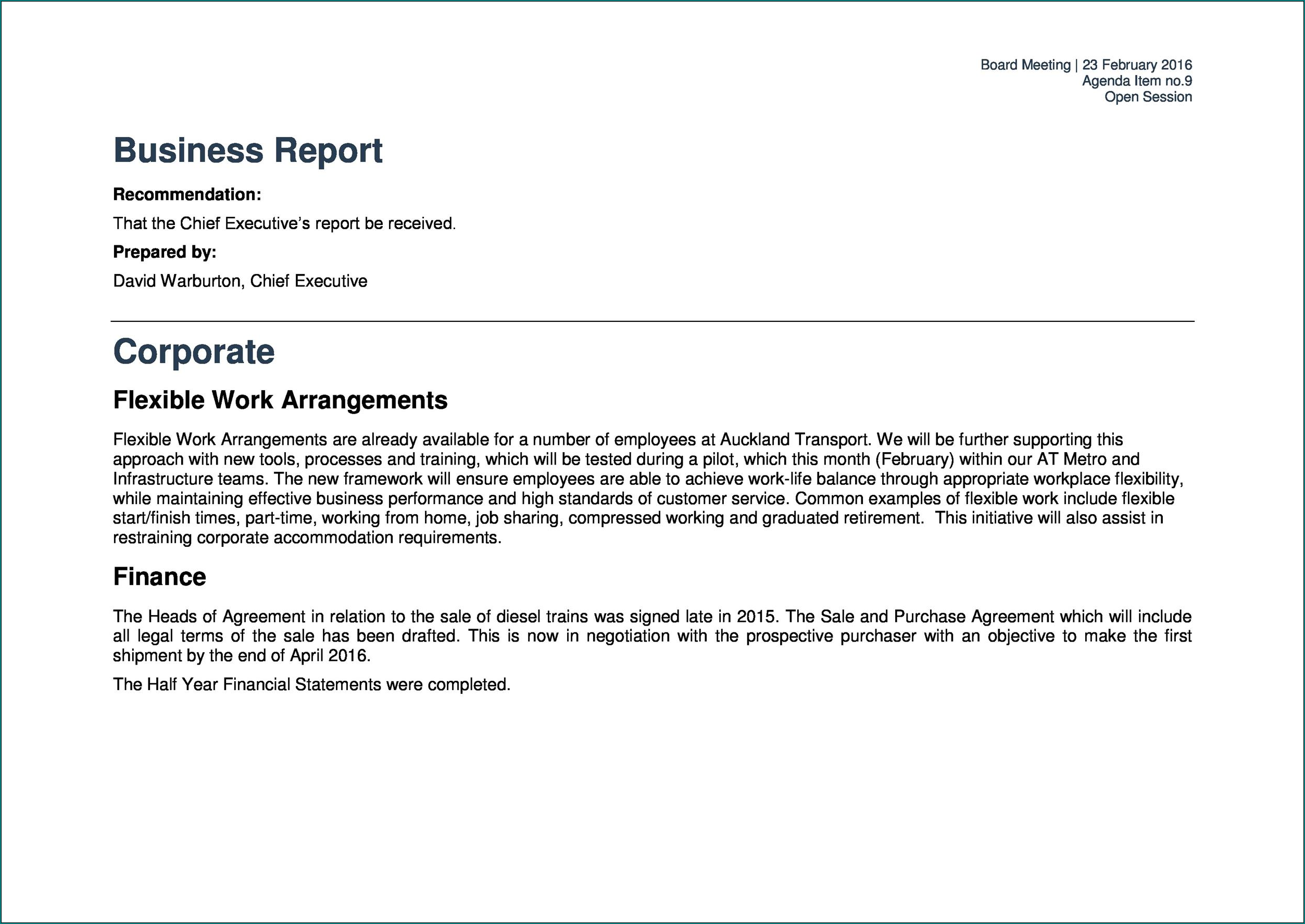 Example of Business Report Template