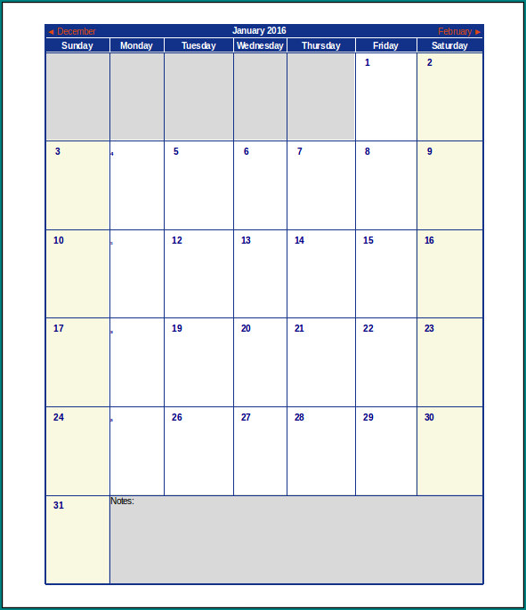 Example of Calendar For Schedule Template