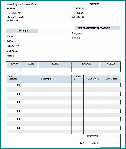 Example of Carpenter Receipt Template Example