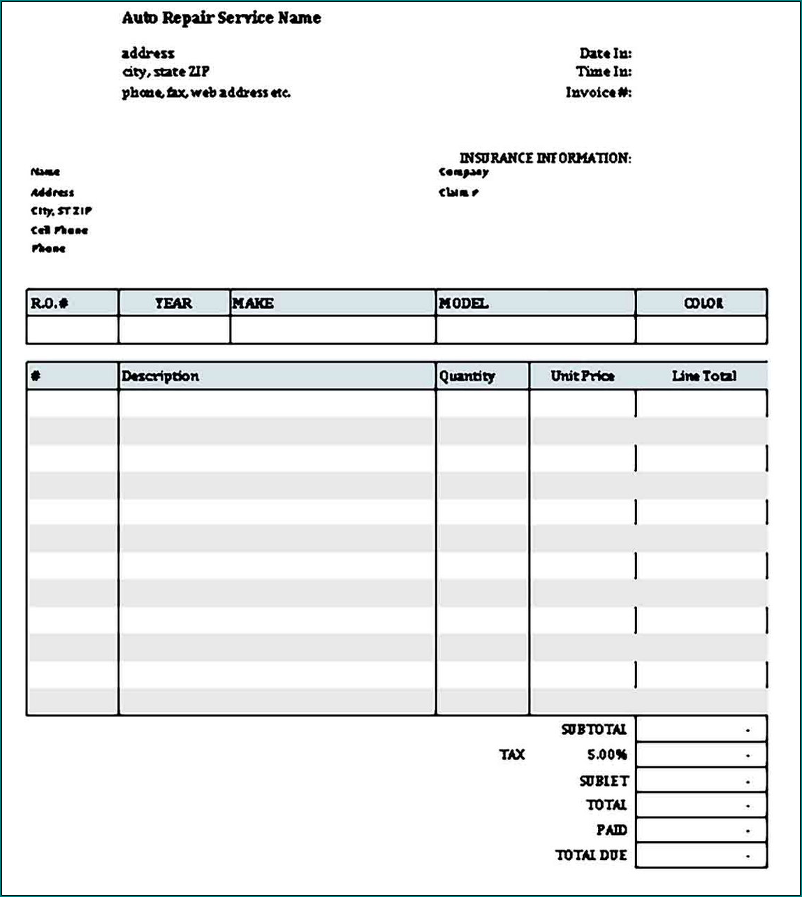 Example of Carpenter Receipt Template Sample