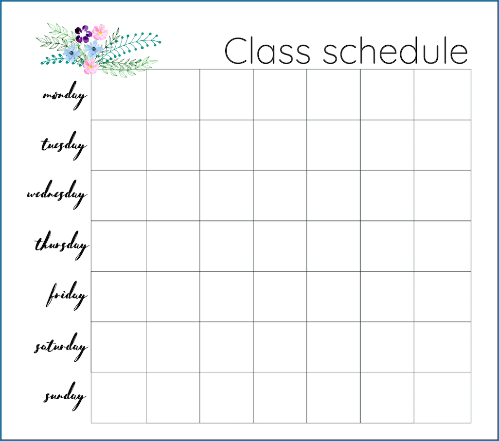 Example of Class Schedule Template