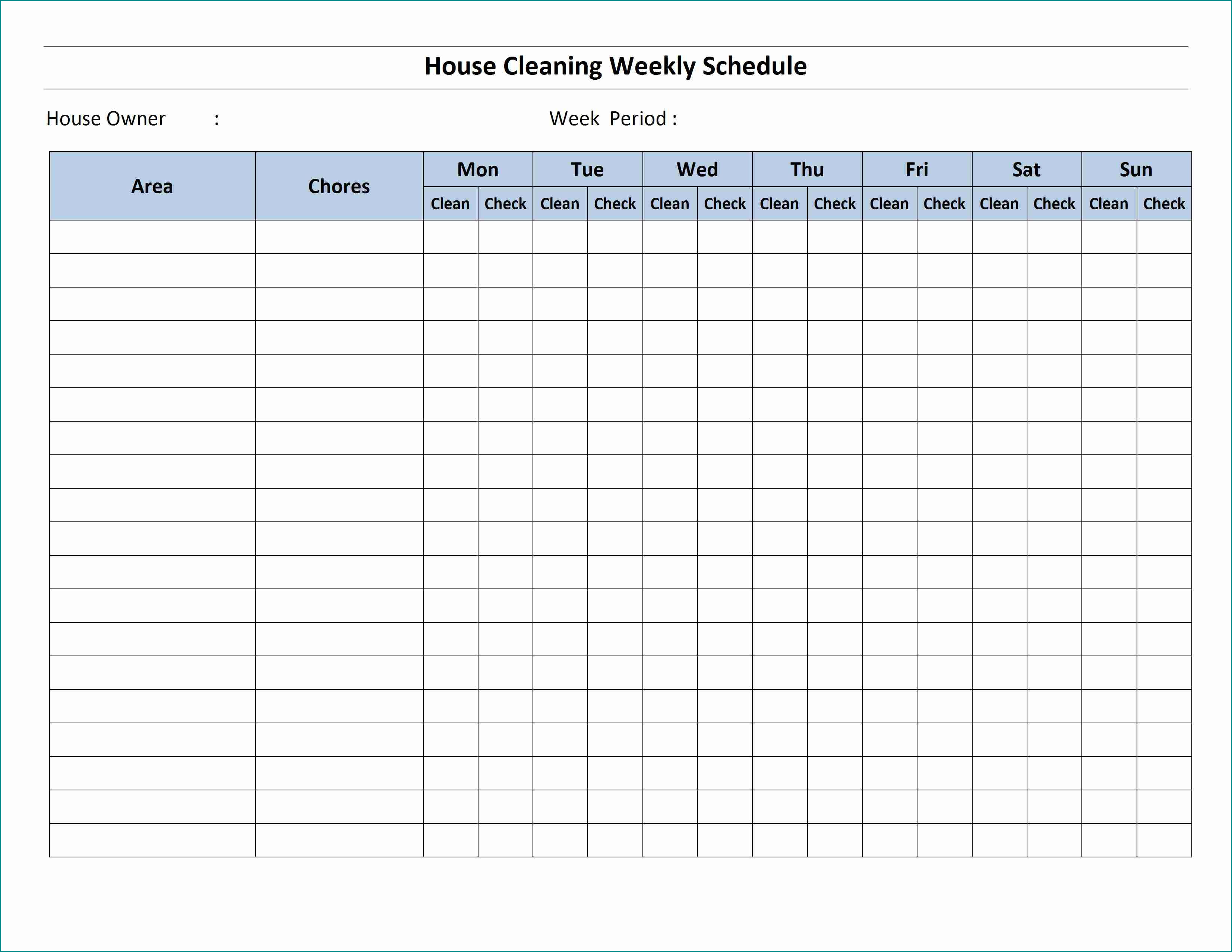 Example of Cleaning Schedule Template