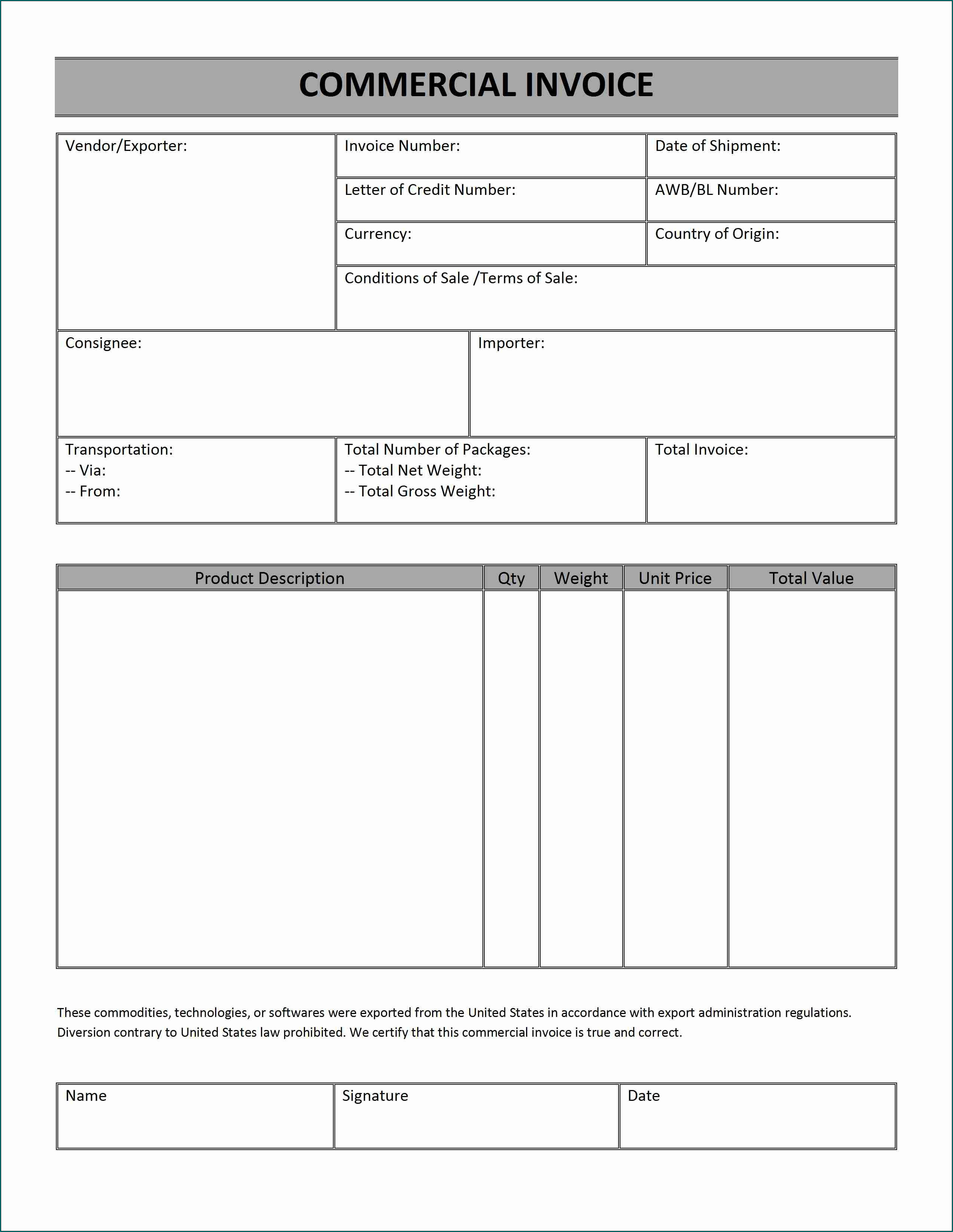 Example of Commercial Invoice Template