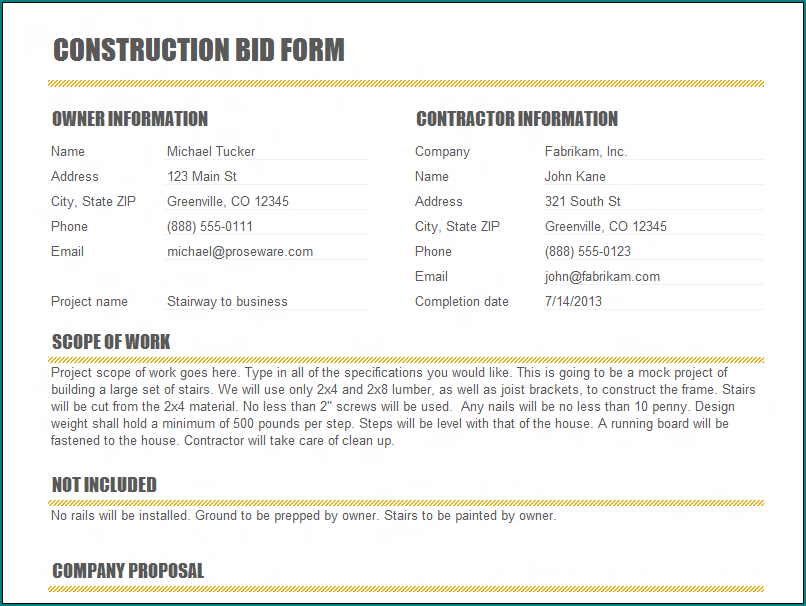 Example of Construction Bid Template