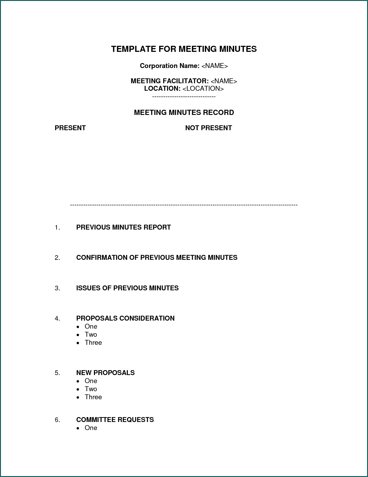 Example of Corporate Meeting Minutes Template Word