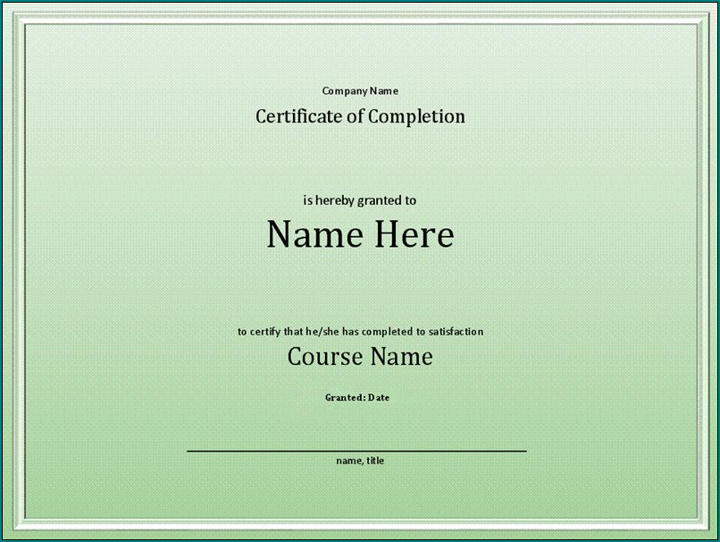 Example of Course Completion Certificate Template