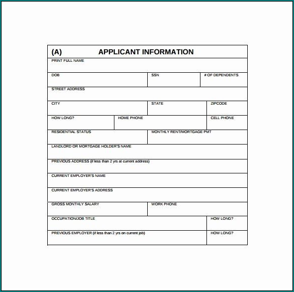 Example of Credit Application Template