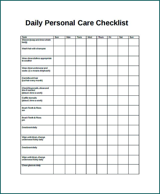 Example of Daily Checklist Template