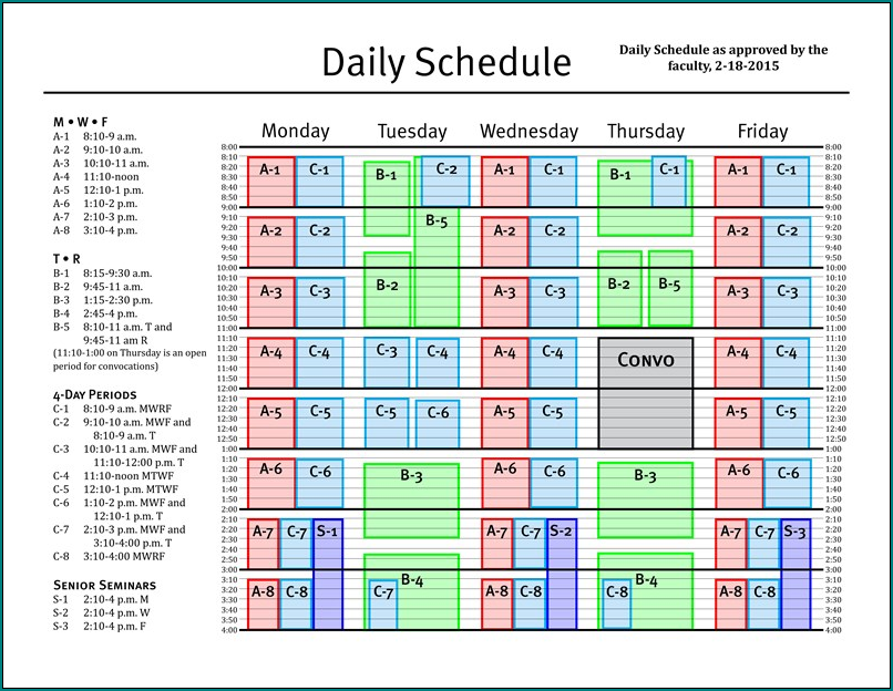 Example of Daily Schedule Template Excel