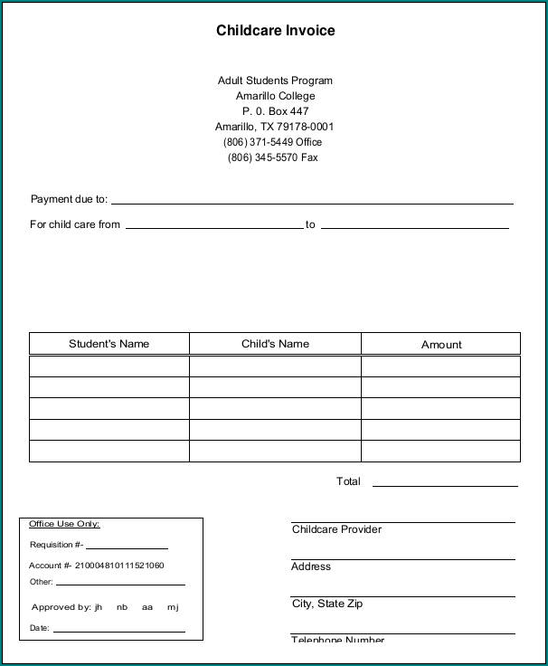 Example of Daycare Receipt Template