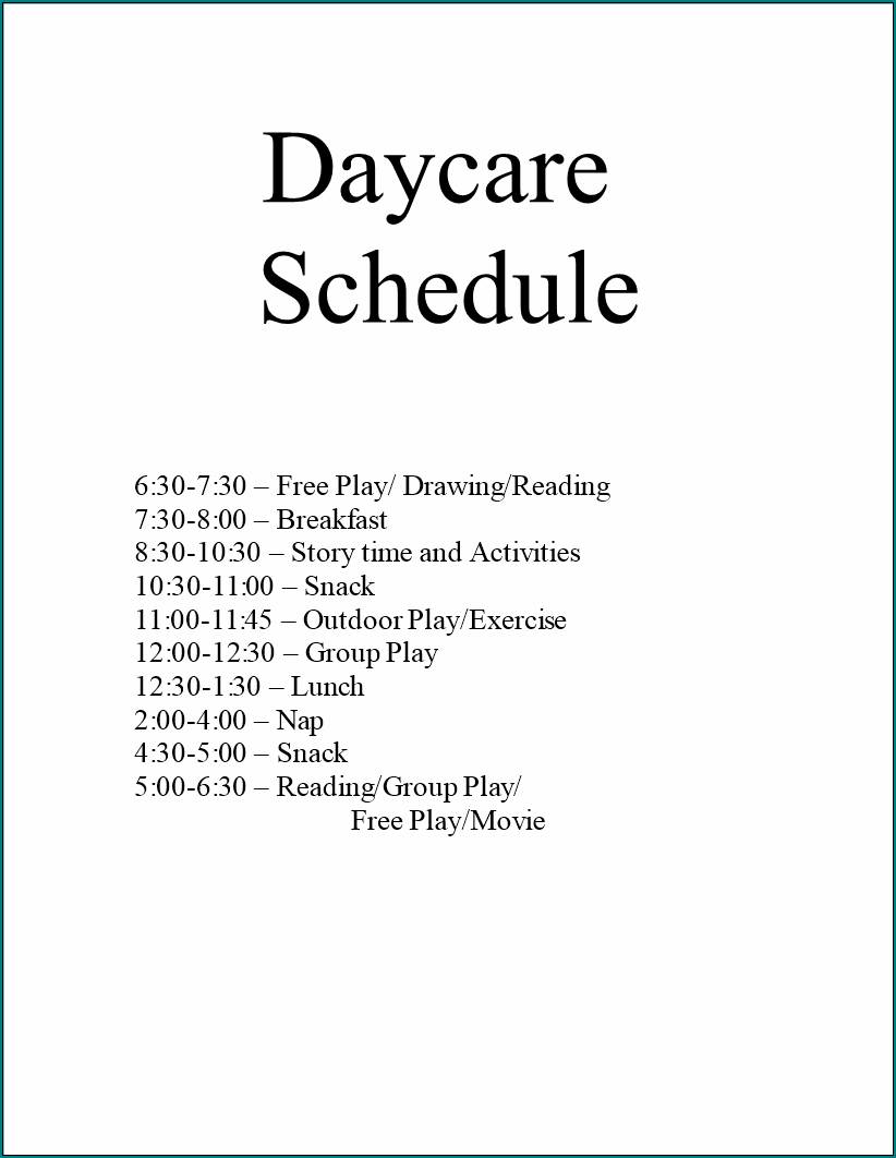 Example of Daycare Schedule Template