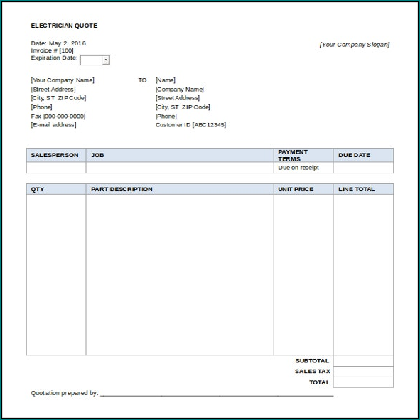 Example of Electrician Receipt Template