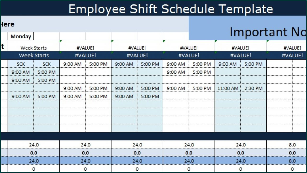 Example of Employee Shift Schedule Template