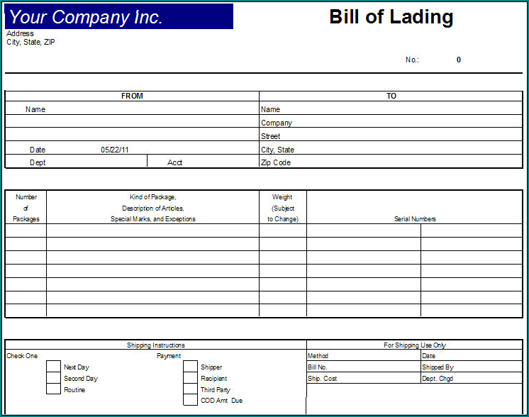 Example of Generic Bill Of Lading Template