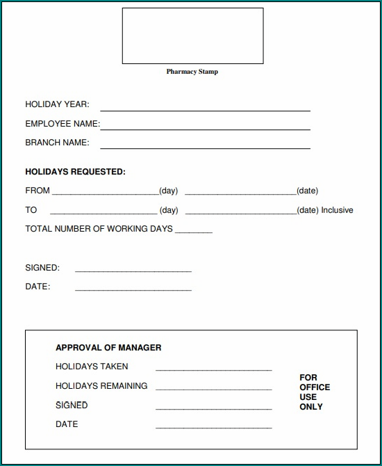 Example of Holiday Request Form