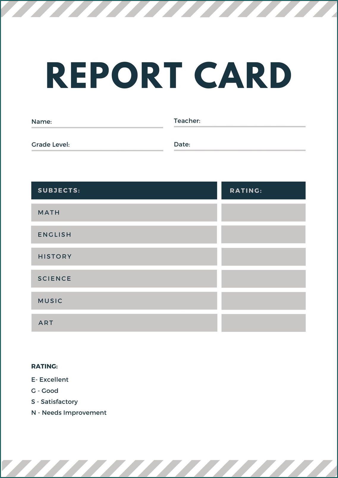 Example of Homeschool Report Card Template