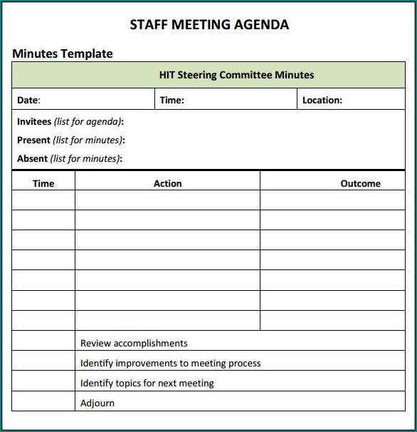Example of Informal Meeting Minutes Template