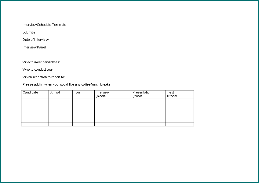 Example of Interview Schedule Template