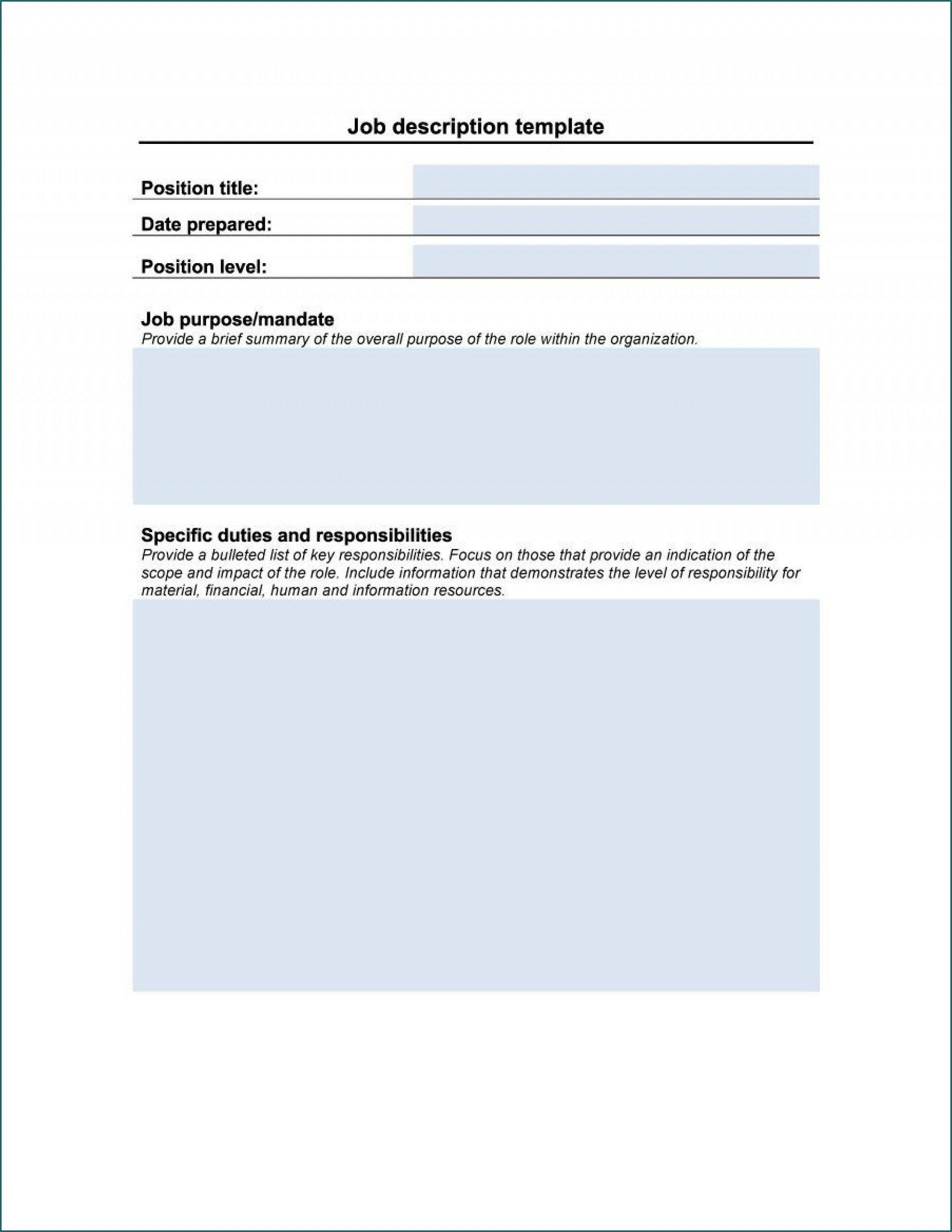 Example of Job Description Template Word