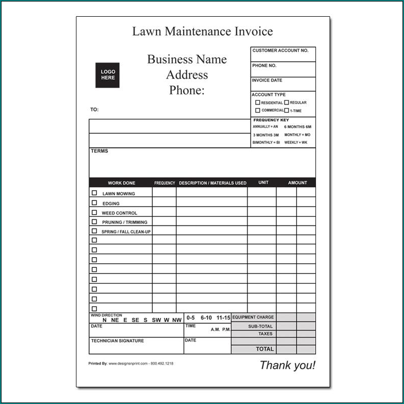 Example of Lawn Care Receipt Template