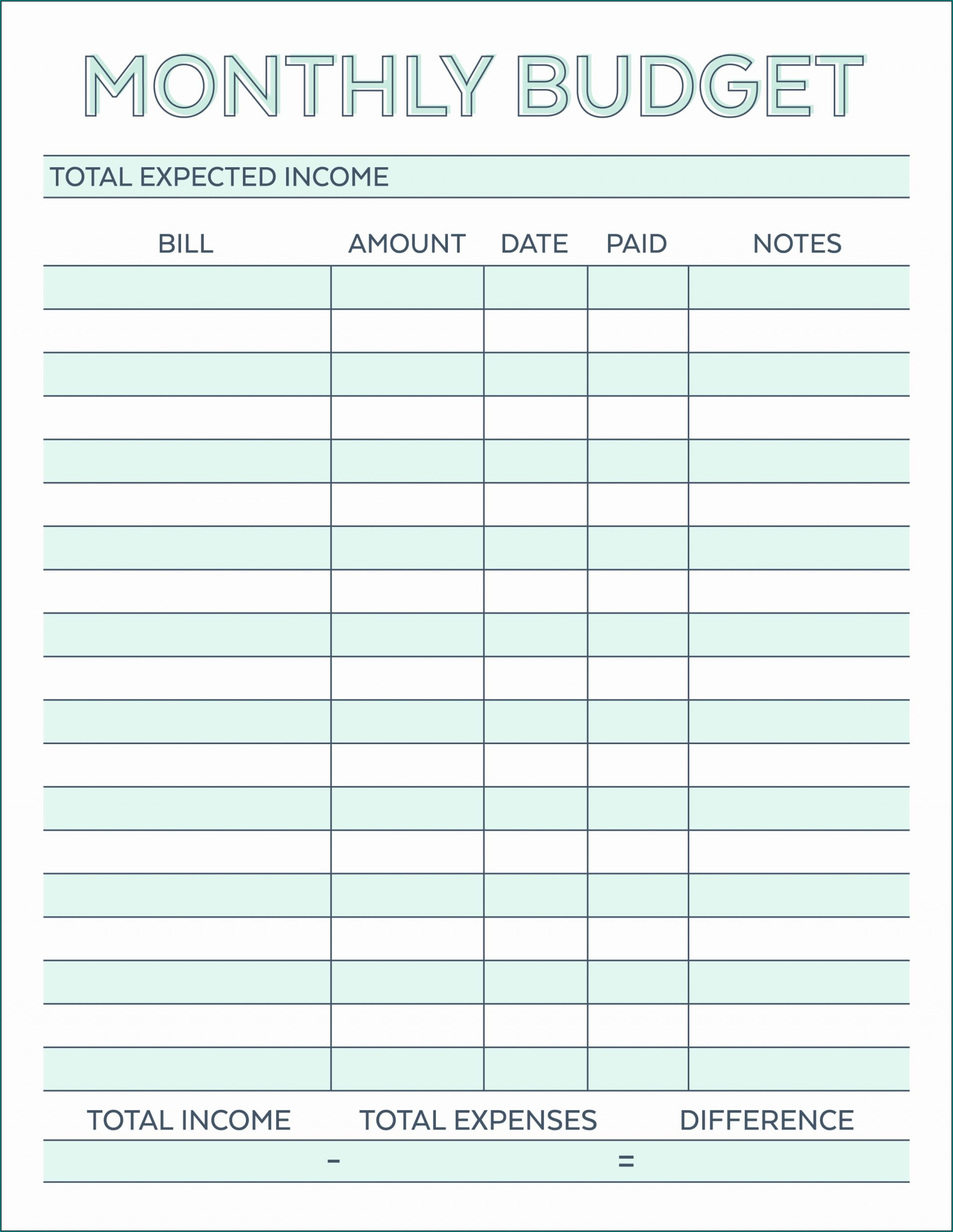 Example of Monthly Budget Template