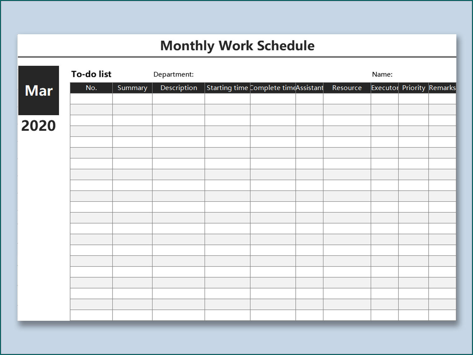 Example of Monthly Work Schedule Template