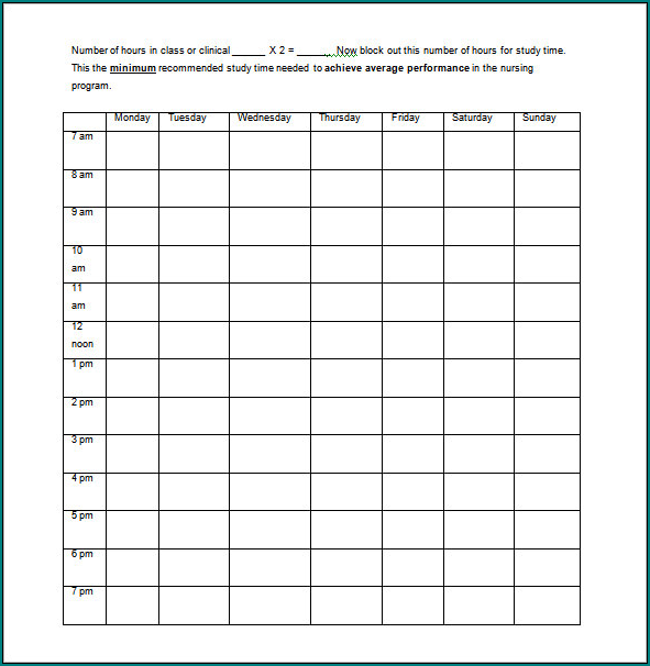 Example of Nursing Schedule Template